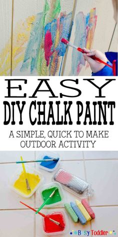 Easy DIY Chalk Paint:  a simple, quick to make outdoor activity; easy toddler activity; perfect chalk art for preschoolers and school aged children; DIY chalk art; create your own chalk paint