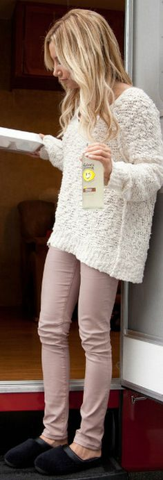 Who made Ashley Tisdale's pink skinny jeans and white sweater that she wore on September 5, 2012?