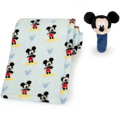 MICKEY MOUSE Printed Blanket and Stick Rattle Set