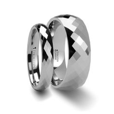 Matching Ring Set288 Diamond Faceted Tungsten Anniversary Band - 4 & 8 mm