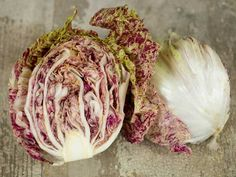 Castlefranco radicchio  An improved selection of this beautiful old Italian heirloom, the round heads are cream colored and splashed with wine red.