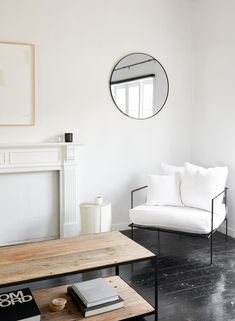white linen armchair from St Clements, and round kmart mirror in monochrome living room of An Organised Life founder, Beck Wadworth. Living Room Inspiration, Interior Inspiration, Funky Living Rooms, Living Spaces, Joy Inside Out, Mission Style Homes, Colorful Apartment, Life Organization, Apartment Living