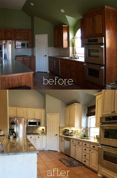 These are just like our cheap cabinets, but look they also made the door off white ;-( b&a kitchen - diy antique glaze cabinets kashmir granite glass stone backsplash white glazed White Kitchen Cabinets, Kitchen Redo, Cheap Kitchen, Cream Cabinets, Kitchen Cabinets Painted Before And After, Painted Cupboards, Refinish Kitchen Cabinets, Kitchen Nook, Dark Cabinets