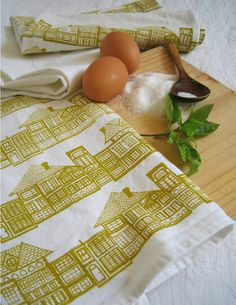 "Tea Towel ""HUTS"" - Hand printed textiles by BlueBerry Ash"