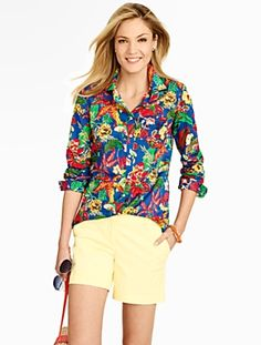 Talbots - Bright Tropical Flowers Cotton Shirt   Pretty In Prints  