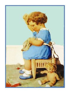 Bessie Pease Gutmann's Little Girl Sewing Her Dolls Clothes Counted Cross Stitch Chart Pattern