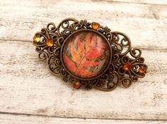 Kleine Haarspange mit Blättern in rotbraun bronze von Schmucktruhe