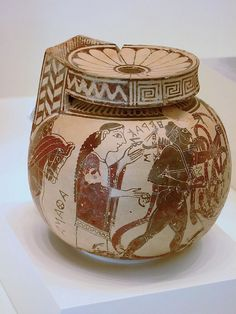 Black-figured aryballos (oil container) 600-575 BCE Greek made in Corinth | Flickr - Photo Sharing!. Heracles kills hydra