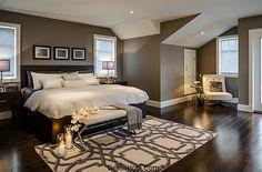 Gray ivory beige cream Bedroom with dark furniture | yatak odası modeli Sevgililer Günü İçin Romantik Yatak Odası ...