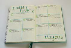 Ideas for a monthly review in your Bullet Journal!