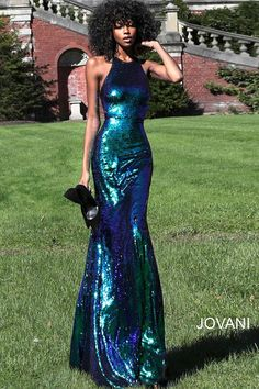 Jovani 61930 Cutout Back Sequin Formal Dress This Jovani 61930 multicolor prom gown features a slim-flare sequin silhouette, with cut-in shoulders to frame the jewel neckline and the semi-racerback. The lower back cutout is offset with a brush train. Black Girl Prom Dresses, Cute Prom Dresses, Prom Outfits, Pretty Dresses, Homecoming Dresses, Beautiful Dresses, Sexy Dresses, Elegant Dresses, Summer Dresses
