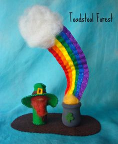 Waldorf Inspired Leprechaun  Rainbow  Pot of by TheToadstoolForest, $29.00