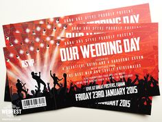 Concert Ticket Invitation Template Concert Ticket Wedding Invitation  Hobart And Haven Www .
