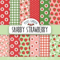 Summer Background in Mint, Pink, Red. Digital Scrapbook Paper, Digital Papers, Blog Design, Printable Paper, Digital Collage, Collage Sheet, Cottage Chic, Craft Projects, Strawberry