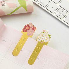 日本创意浪漫樱花金属书签 唯美镀金和风便携樱花书签 A手帐文具