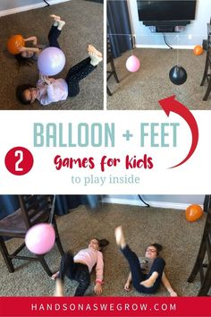 Here are 2 super simple and fun balloon games for kids to play indoors using household supplies and their feet instead of their hands! Gross Motor Activities, Outdoor Activities For Kids, Rainy Day Activities, Hands On Activities, Learning Activities, Preschool Activities, Balloon Games For Kids, Foot Games, Learning Through Play
