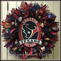 Houston Texans deco mesh wreath by Twentycoats Wreath Creations Football Wreath, Texans Football, Saints Football, Football Season, Creative Gift Packaging, Creative Gifts, Deco Mesh Wreaths, Door Wreaths, Holiday Wreaths
