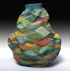 Basketry by Lois Russell  Twined waxed linen Textiles, Weaving Art, Fabric Manipulation, Fabric Art, Basket Weaving, Woven Baskets, Textile Art, Bunt, Fiber Art