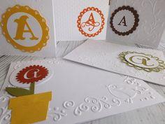 5 Monogramed Note Card / Papercut/ Envelopes/ by YellowLadyBird