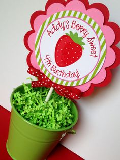 Berry Sweet Strawberry Birthday Party Cake by sweetheartpartyshop