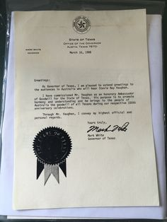 This item was actually owned by Stevie himself, very special. It is a photocopy of the Texas Governor's notice of designating Stevie as an Ambassador of Goodwill which was sent to Australia.