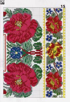 A partir de perlas a una obra maestra 2016 - Chispitas Cross Stitch Borders, Cross Stitch Flowers, Cross Stitching, Cross Stitch Patterns, Beaded Embroidery, Cross Stitch Embroidery, Hand Embroidery, Bead Loom Patterns, Beading Patterns