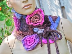 Uniqye crochet scarf, Capelet / Neck Warmer / Freeform crochet Blue/ Purple/ Pink/brown Womens scarf, Freeform Crochet scarf/gift