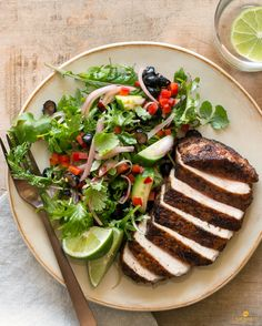 This mildly spicy meal is light and easy to prepare; it all comes together in just under 20 minutes. Our house-made jerk spice blend, spiked with chipotle and cayenne pepper, gives the simple pan-cooked pork chops just enough heat to keep things interesting and balances the sweetness of the nutrient-dense blueberry-kale salad. #paleo #glutenfree #dairyfree #soyfree #lowcalorie