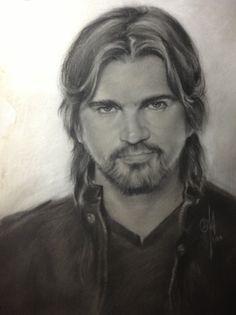 "Juan Estevan Aristizabal ""Juanes"" Life Size. Charcoal and White Chock on toned paper. 16"" x 20"""