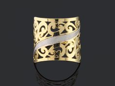 anel 6687 largo arabesco - ródio claro na Móveis pra Você