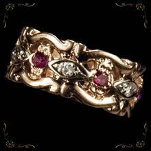 $899 Size 5 authentic deco ring. One lucky girl who is a size 5 go see this, wish I was a 5! Stunning Ruby Diamond Filigree 14k Rose Gold Wedding Band