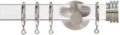 Jones Strand Acrylic 35mm Curtain Pole, Matt Nickel, Metal End Stopper