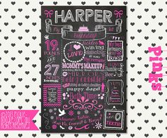 First Birthday Chalkboard Poster Sign for Birthday Parties - Customized Custom Printable File - Baby's First Birthday - Boy or Girl Chalkboard Baby, First Birthday Chalkboard, Chalkboard Poster, Birthday Gifts For Boys, Boy First Birthday, Birthday Parties, Birthday Ideas, Party Themes, Party Ideas