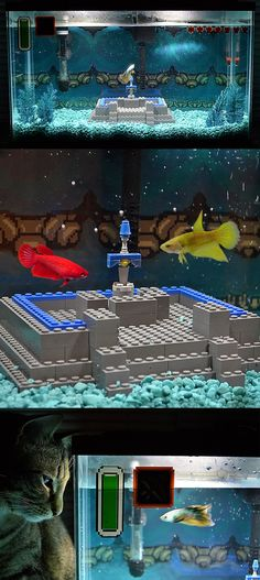 This beautifully put together aquarium not only looks amazing, but is designed for fish to dive straight into the Master Sword scene from A Link to the Past. A truly one of a kind setup ideal for your very own Hylian Loach. #legendofzelda #zelda #link
