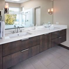Darker Brown w/ White counter, grey floor Gloss Grey Vanity Design, Pictures, Remodel, Decor and Ideas - page 10
