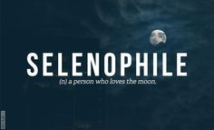 {Selenophile} (n) a person who loves the moon.