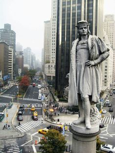 "Today back in 1493 Christopher Columbus arrived back in Spain after his first voyage to the New World.  Here he is in NYC at the center of it all. Columbus Circle is the place where distances to and from NYC are measured.  Upon his arrival, Columbus immediately wrote a letter announcing his discoveries to King Ferdinand and Queen Isabella, who had helped finance his trip:  ""In the island, which I have said before was called Hispana, there are very lofty and beautiful mountains, great farms…"