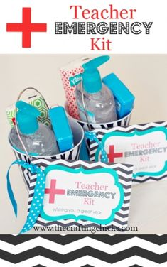 Teacher Emergency Kit-small bucket of hand sanitizer, bandaids, could small pk of hand wipes, kleenex, small first aid kit from Target.