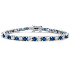 Bling Jewelry Blue Sapphire Color Silver Tone Cubic Zirconia Tennis Bracelet