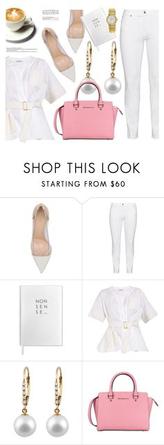 """Pop of Pink"" by jomashop ❤ liked on Polyvore featuring Gianvito Rossi, Steilmann, Sloane Stationery, Balenciaga, Obaku, white, Pink and WhiteLook"