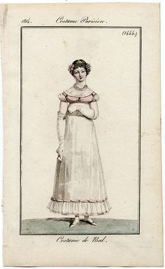 1814. It just says Ball dress but you can see the outline of gauze or net over a white underdress.
