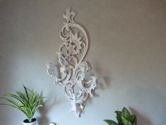 Chippy White Cottage Chic Ornate Candle Holder Wall Candle Holder Wedding Decor Wall Hanging  Wall Sconce