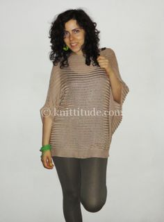 Free Machine Knitting Pattern - Trendy Large Nude Color Blouse