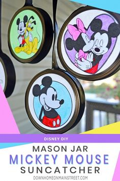 Save those mason jar lid rings and upcycle them into Mickey Suncatchers. These super cute window decorations are a budget friendly kids craft that brings some Disney magic into your home! Make this mason jar craft in mere minutes with a free Mickey coloring page template I created just for you! #kidsactivities #suncatcher #masonjarideas #Disneykids #Mickey #Disneyside Disney Crafts For Adults, Disney Diy Crafts, Easy Crafts For Kids, Mason Jar Diy, Mason Jar Crafts, Disney Magie, Jar Lid Crafts, Mickey Coloring Pages, Sun Catchers