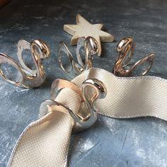 Set of 4 silver plated napkin rings shaped like swans, via untried