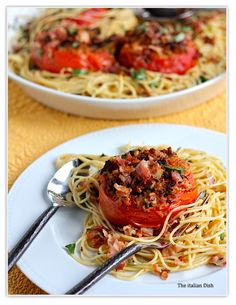 My New Favorite Dish - Spaghetti with Roasted Tomatoes, Garlic, Pancetta