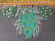 Ugadi rangoli....mangoes & neem leaves Free Hand Rangoli Design, Small Rangoli Design, Rangoli Patterns, Rangoli Ideas, Rangoli Designs Diwali, Rangoli Designs Images, Rangoli Designs With Dots, Kolam Rangoli, Flower Rangoli