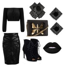 """Untitled #58"" by livibug-0404 on Polyvore featuring Versace, JustFab, Gucci, Black and Lime Crime"