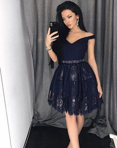 Navy Lace Homecoming Dress, Back To School Dresses ,Short Prom Dress For Teens BPD0469