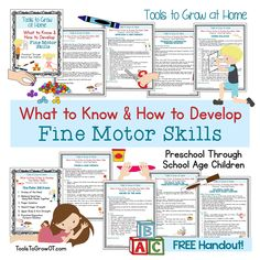 What to Know and How to Develop Fine Motor Skills: Educational Resources for Parents/Caregivers - Tools to Grow at Home. Includes FREE Printable!